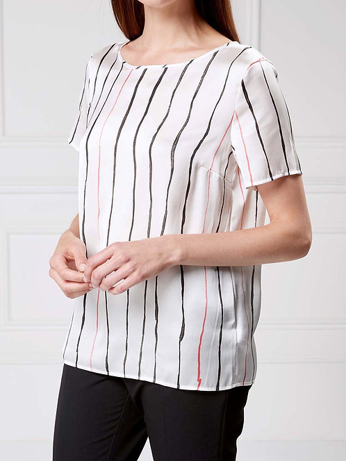 N3XT IVORY Stripe Short Sleeve Satin Top