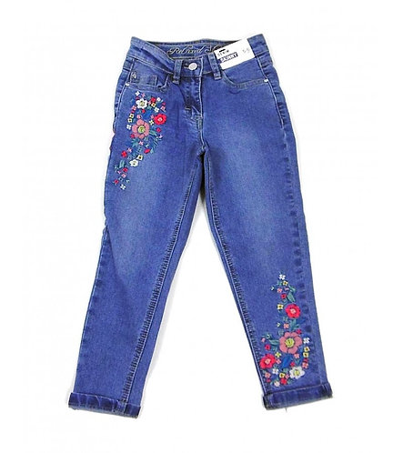 Floral Embroidered Skinny Relaxed Denim Jeans