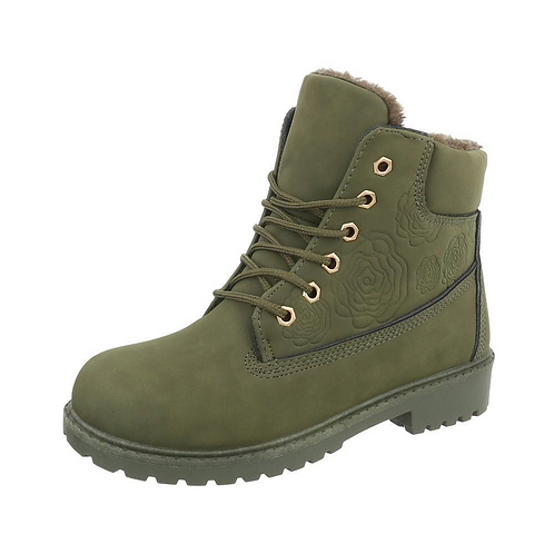 Rose Embossed Olive Green Military Boots