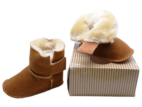 Infants Camel Leather Fur-Lined Booties
