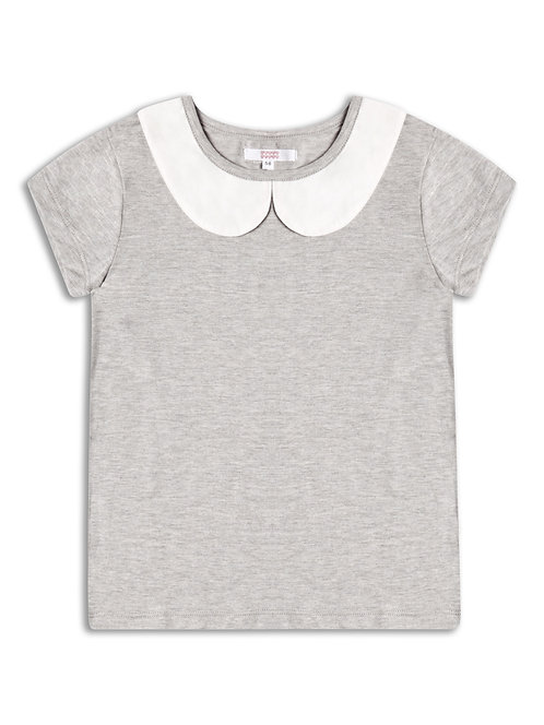 Girls grey peterpan collar top.