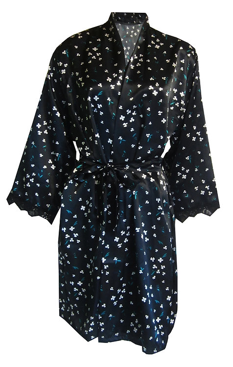 Black Floral Satin Wrap Dressing Gown