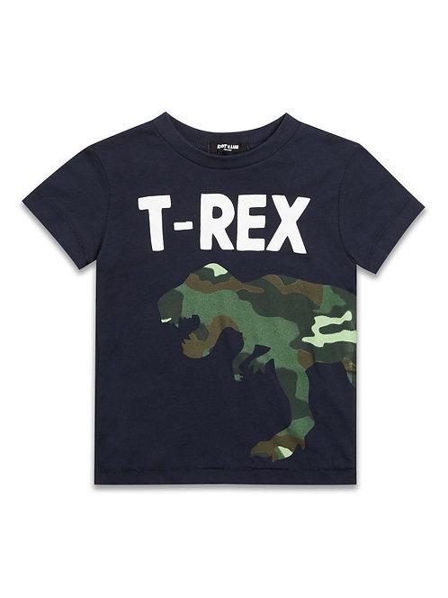 Boys Navy and camo T-Rex T-Shirt