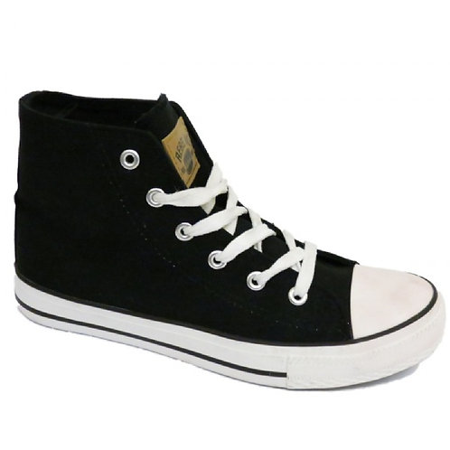 Black Canvas Hi-Top Trainer Boots