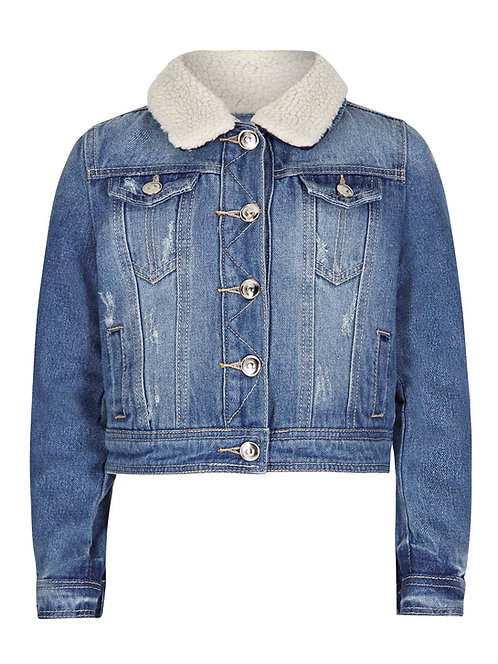 Distressed denim jacket with sherpa lining