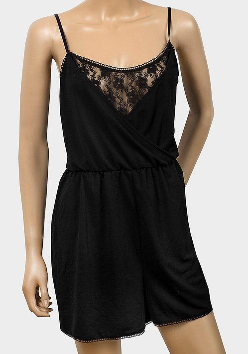 Ladies Black Lace Panel Wrap Playsuit