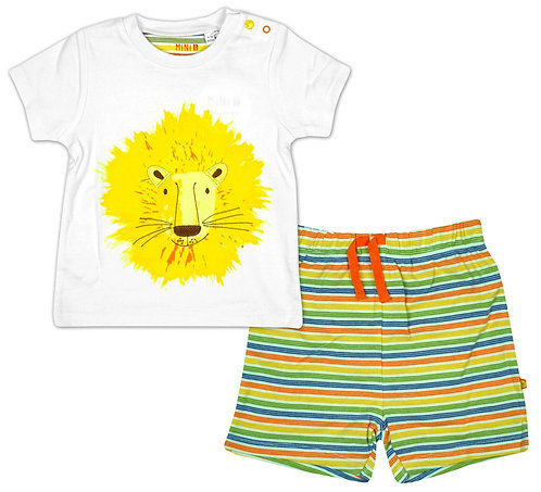 Mini B Lion Stripe Short Set