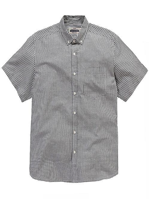 Jacamo BLACK Mens Archer Pure Cotton Short Sleeve Mini Check Shirt