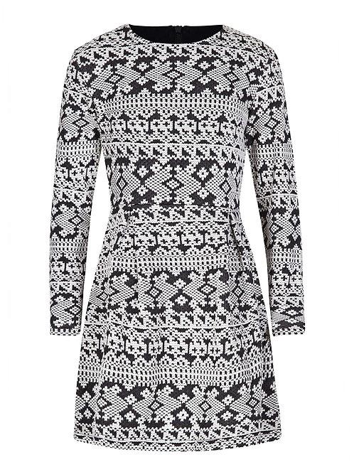 Girls black and cream print dress