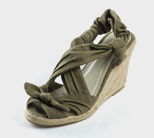 Army Green Espadrilles Wedge Sandals