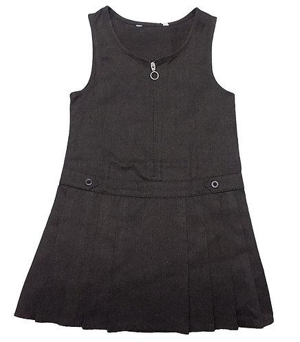 Grey Pleated Zip Front Pinafore School Dress