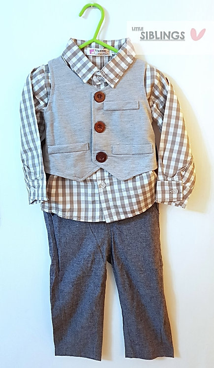 Boys Grey 3 piece waist coat set
