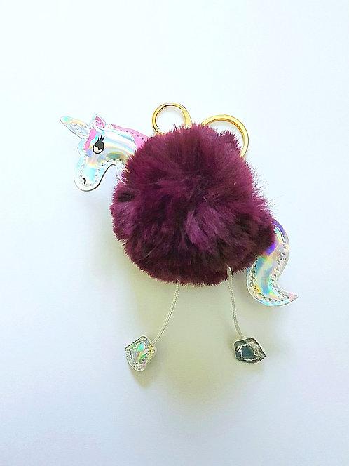 Unicorn Pom Pom Key Ring Purple