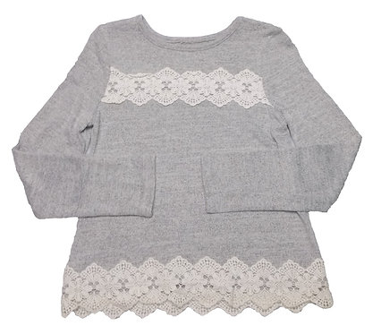 Girls Grey Lace Top