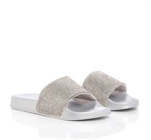 Silver And Diamante Slider Sandals Gamuna
