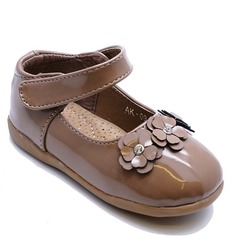 Infant Tan Patent Velcro Mary Jane Pumps
