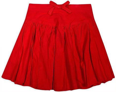 Girls Red Cotton Skater Skirt