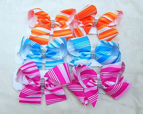 6 Inch Striped Diamante Hair Bow