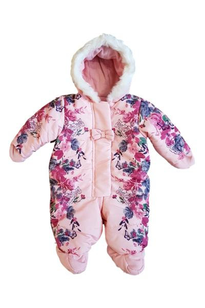 Baby Girls Pink Floral Snowsuit