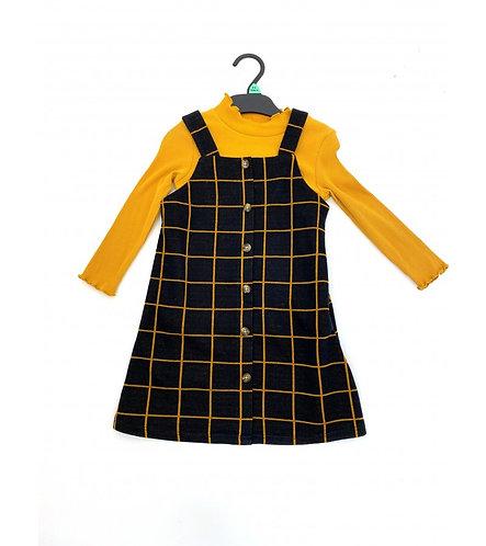 Yellow Checked pinafore Dress set