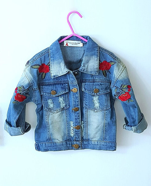 Oversized Distressed Rose Jean Jacket