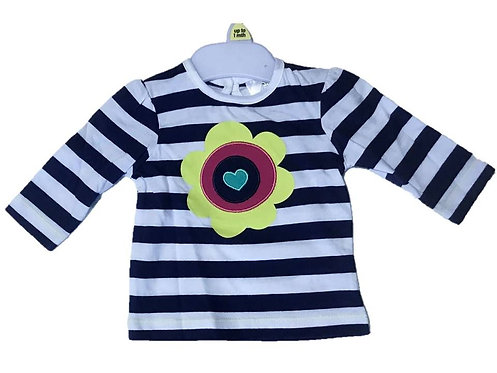Baby Girls Flower Heart Striped Top