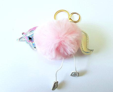 Unicorn Pom Pom Key Ring Pink