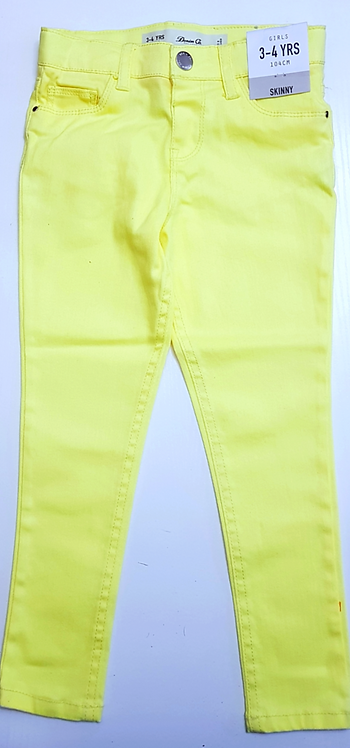 Girls High waisted Lemon Yellow Skinny Jeans