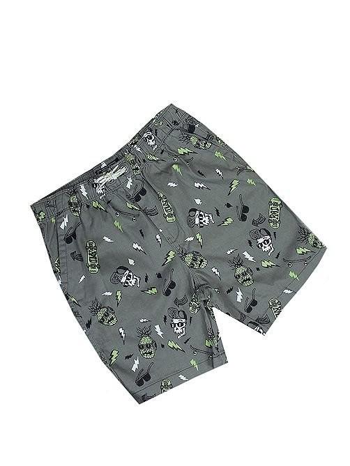 Grey Skull Print Shorts