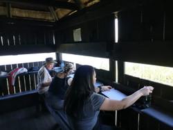Three women sitting at bird hide