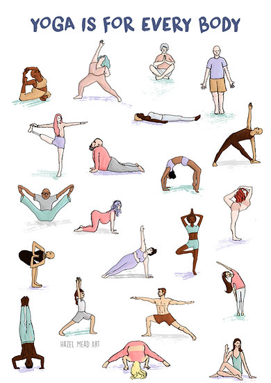 'Yoga Is For Every Body' A4 print