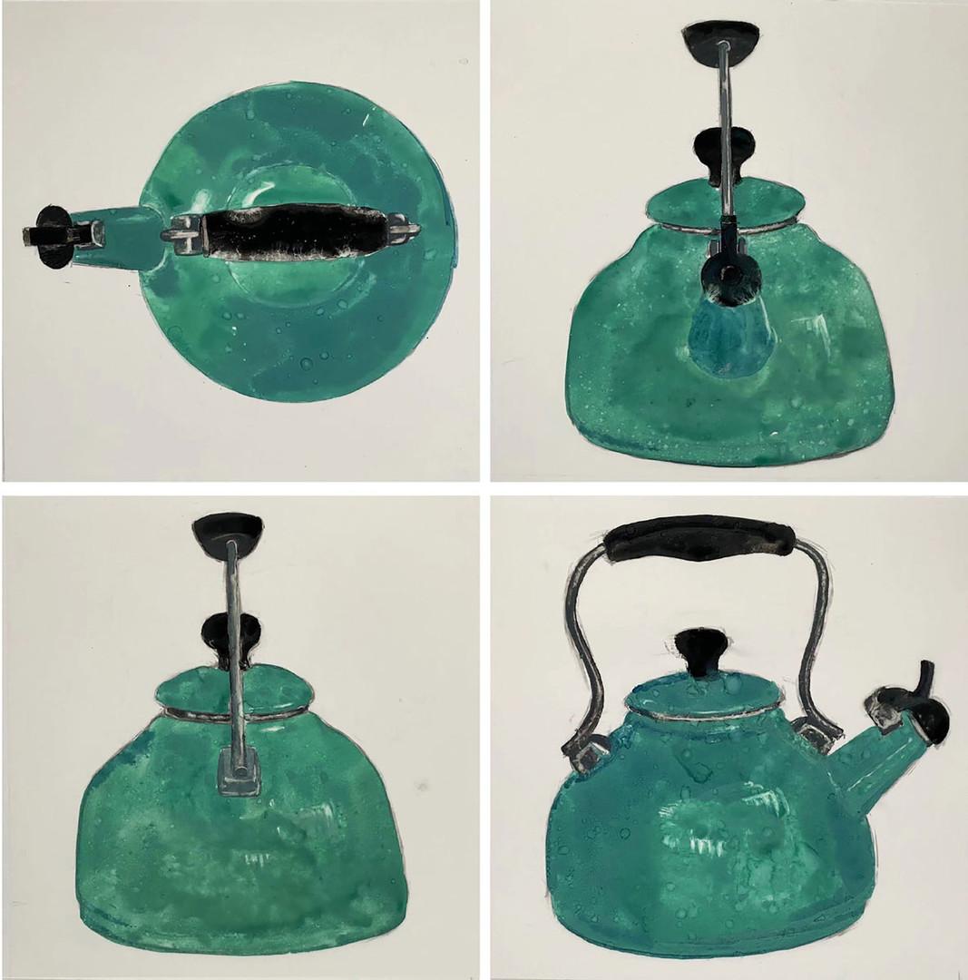 绿壶  Green Kettle合成纸中国颜料和墨 Synthetic Pape