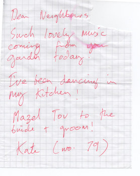 Appreciative note from Kate the neighbour (rachel and Gareth's Wedding, Hampstead Garden Suburb, London)