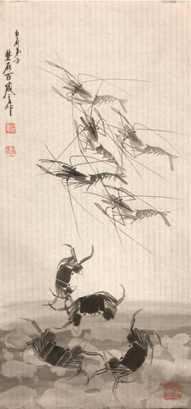Shrimps and Crabs, ink on paper