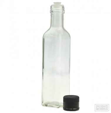 PACK MY PRODUCT | 250ml Marasca Oil Bottle Clear Glass with Black Pourer Cap