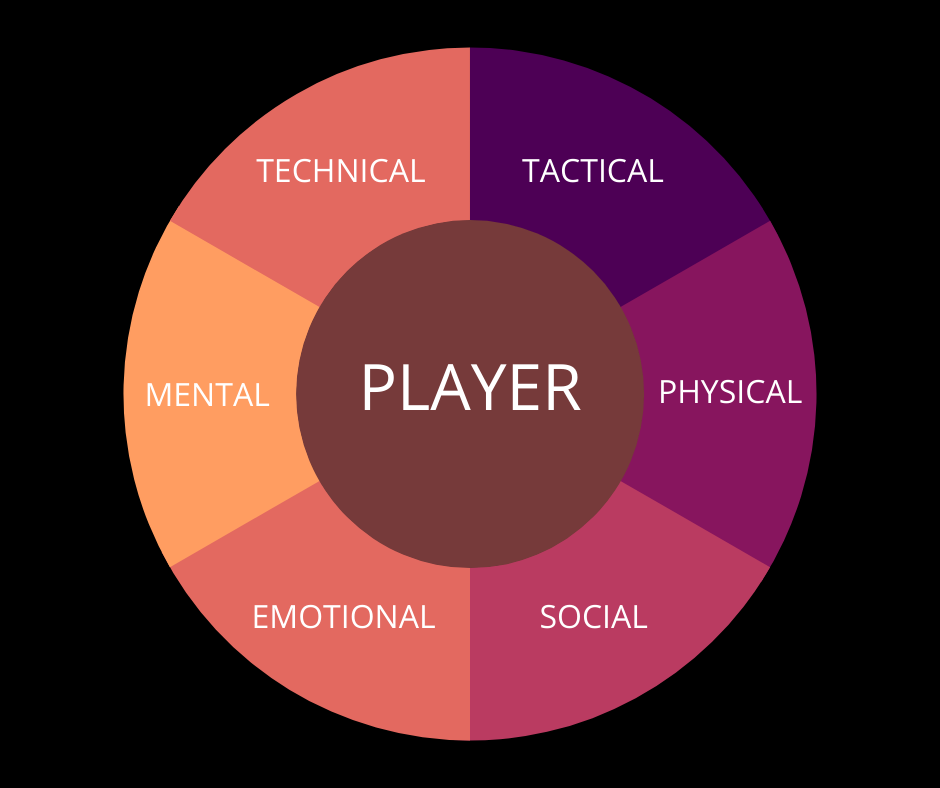Illustrating the key aspects of the player assessment app tool which delves further into specific attributes and are age appropriate focusing on aspects of the developing player.