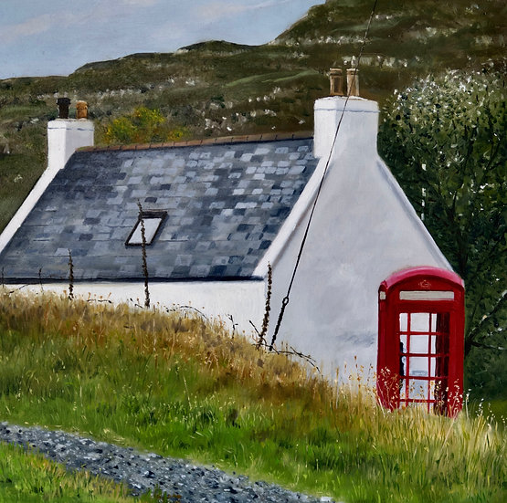 White Cottage & Red Phone Box