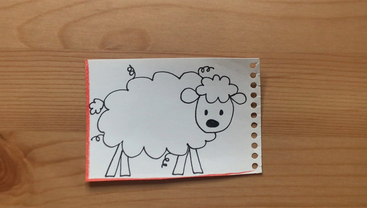 """Sheep drawing from """"Brown Bear, Brown Bear, What Do You See?"""""""