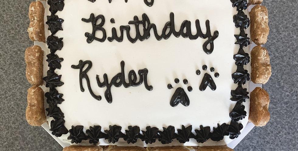 "6"" Square Cake - (edged with 16 bone treats)"