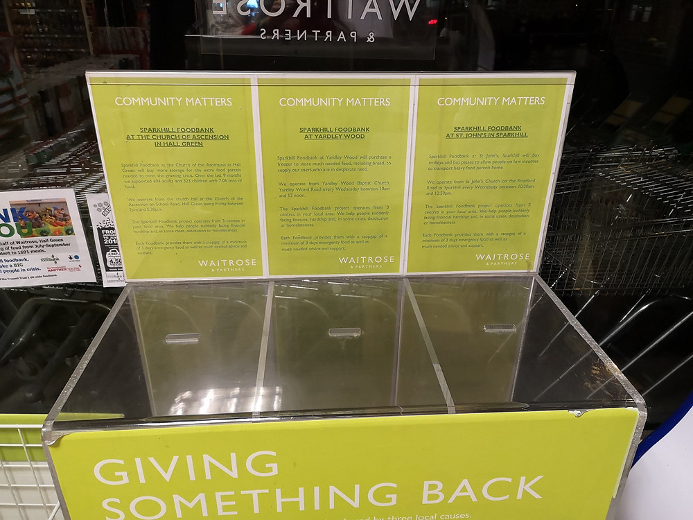 The Community Matters collection box at Waitrose Hall Green