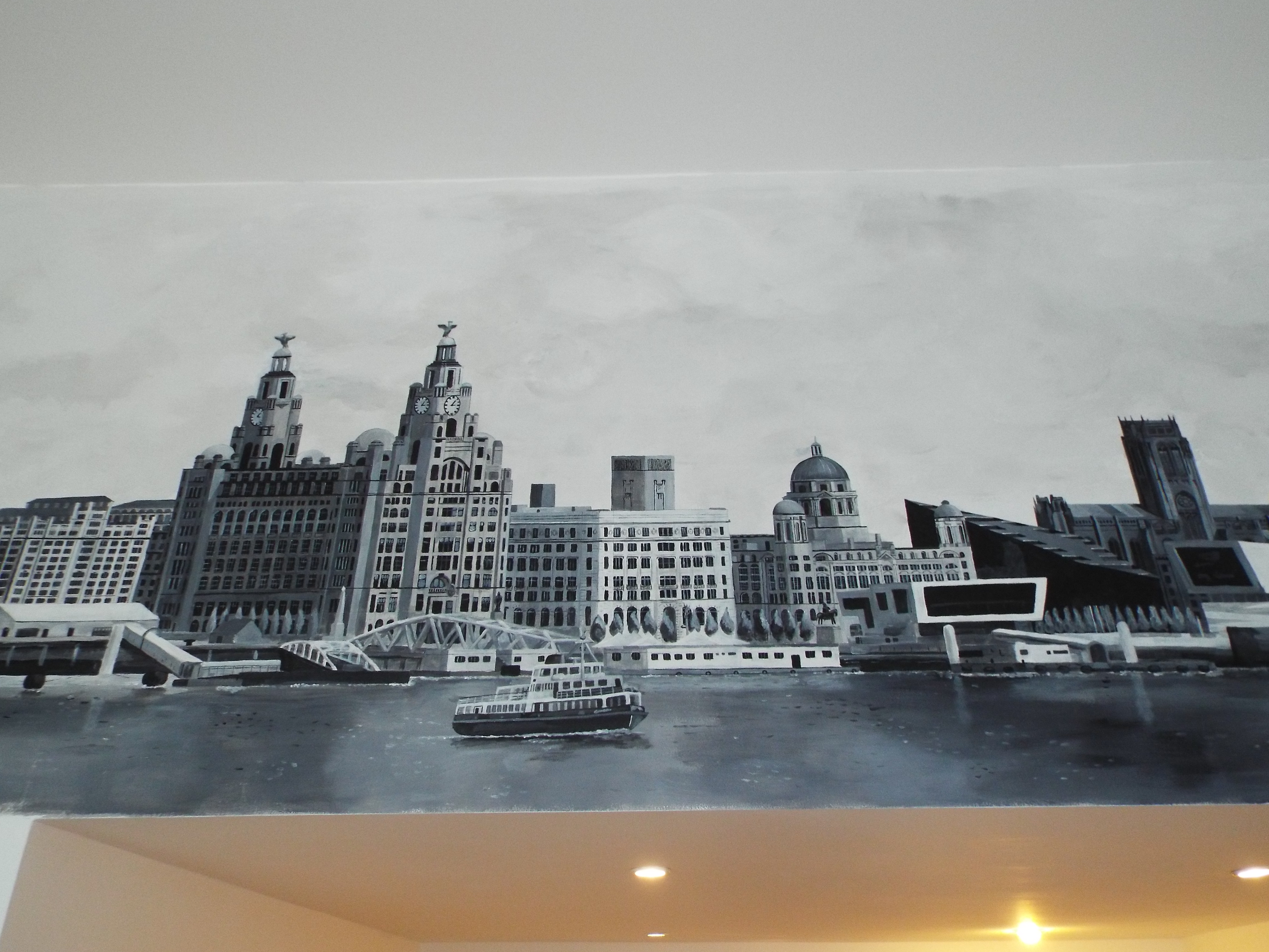 Three Graces Liverpool waterfront view mural