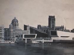 Mann Island Liverpool waterfront view mural