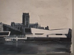 Liverpool cathedral waterfront view mural