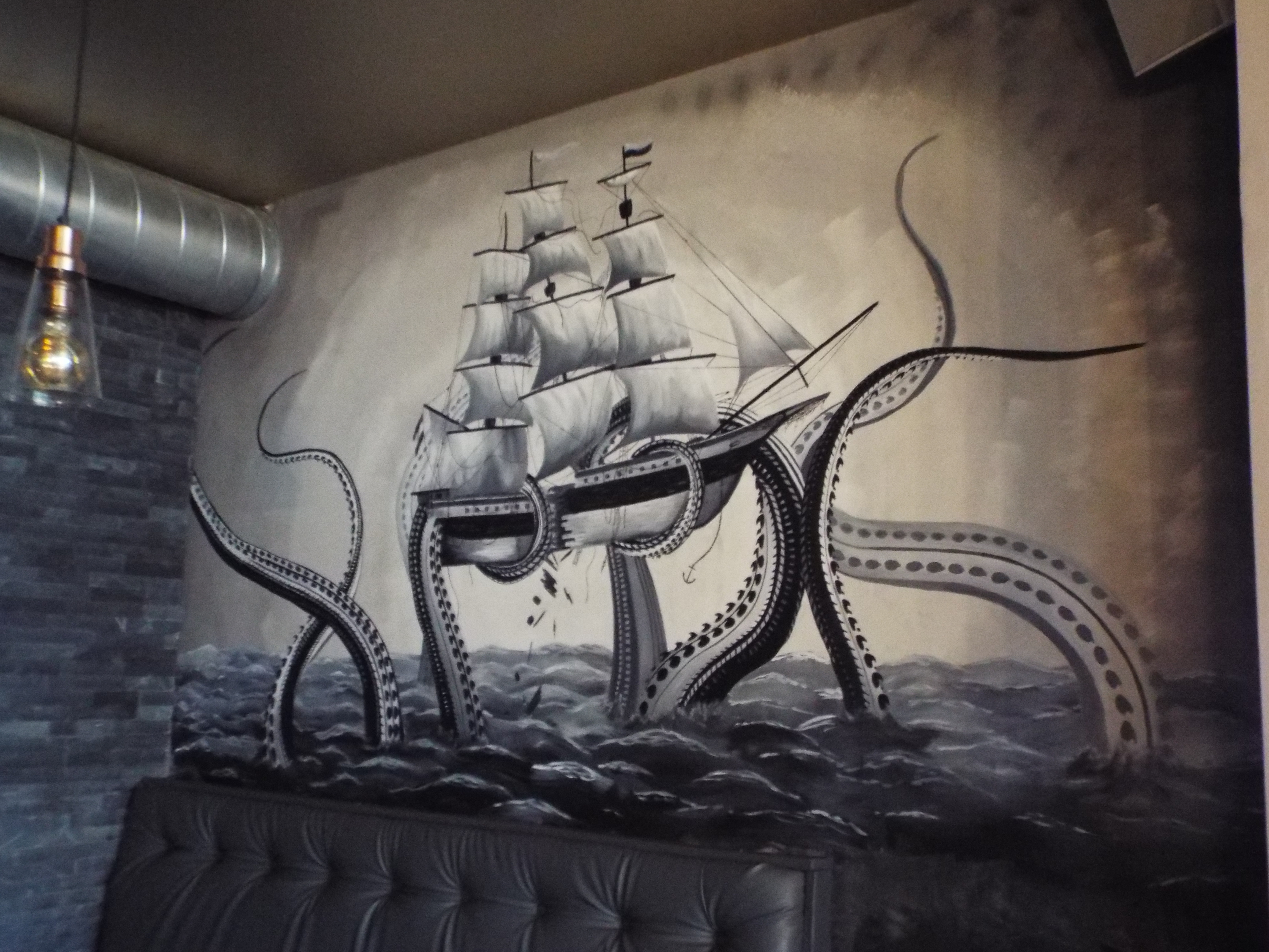 Galleon Kraken Attack Mural