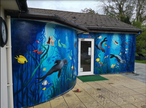 Liverpool, underwater seals mural, Paul
