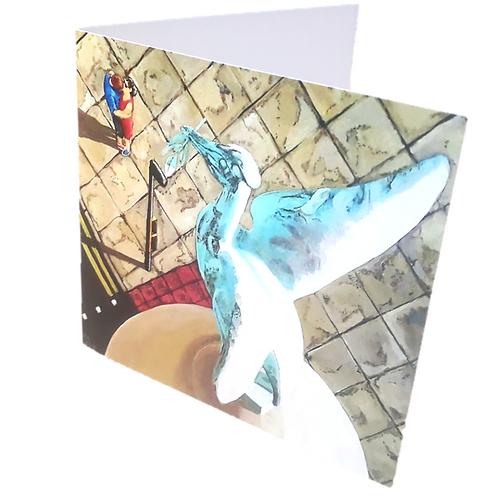 """Liver Bird Kiss"" Greetings Card"