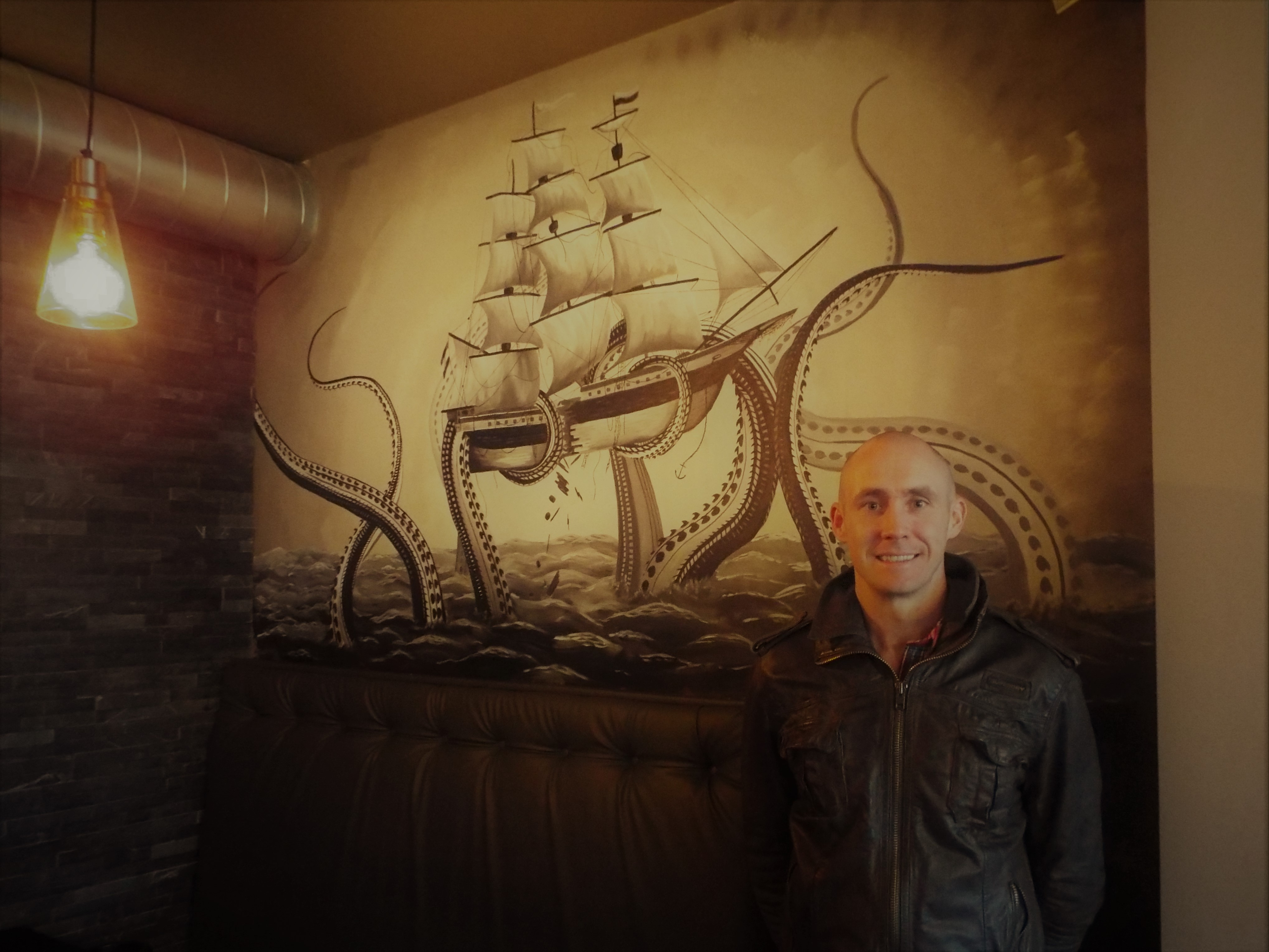 Ship Kraken Attack Mural