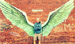 Paul Curtis with Wings Street Art