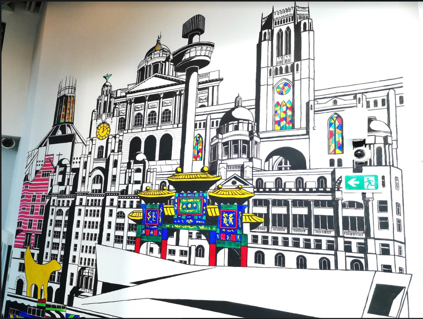 Liverpool buildings mural, final piece,
