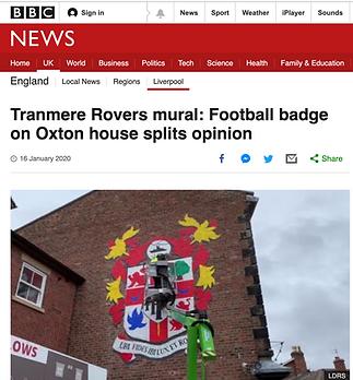 BBC news- Tranmere Rovers mural- Paul Cu